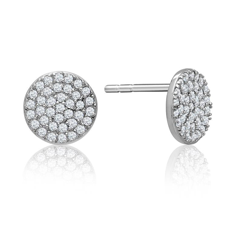Achara Large Zirconia Pave Button Stud Earrings