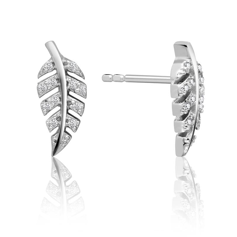 Achara Cubic Zirconia Leaf Sparkling Stud Earrings