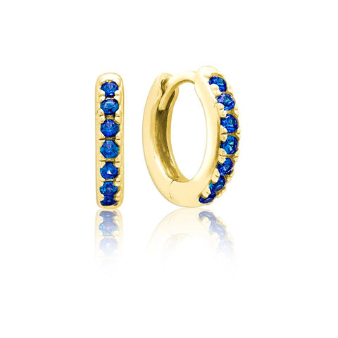 Achara Blue CZ Huggie Hoop Earrings