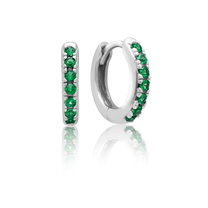 Achara Green CZ Huggie Hoop Earrings
