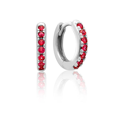 Achara Red CZ Huggie Hoop Earrings