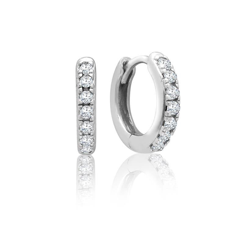 Achara White CZ Huggie Hoop Earrings
