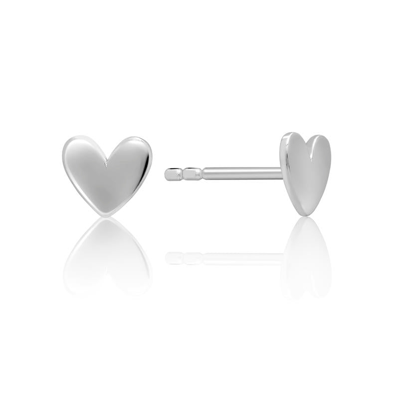Achara Small Flat Heart Stud Earrings