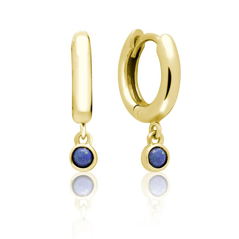 Achara Blue Stone Drop Huggie Hoop Earrings