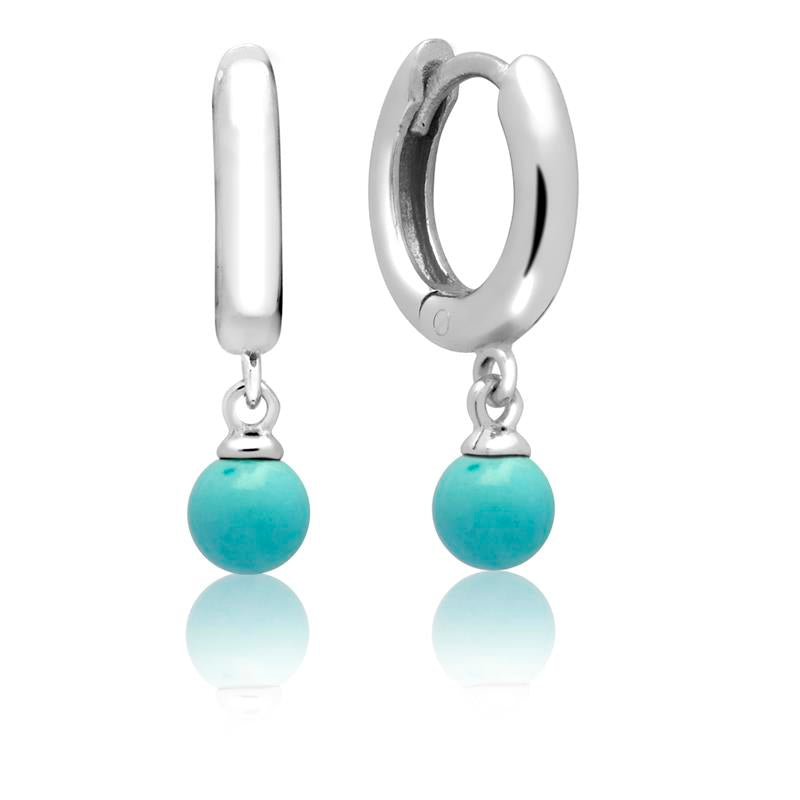 Achara Turquoise Drop Huggie Hoop Earrings