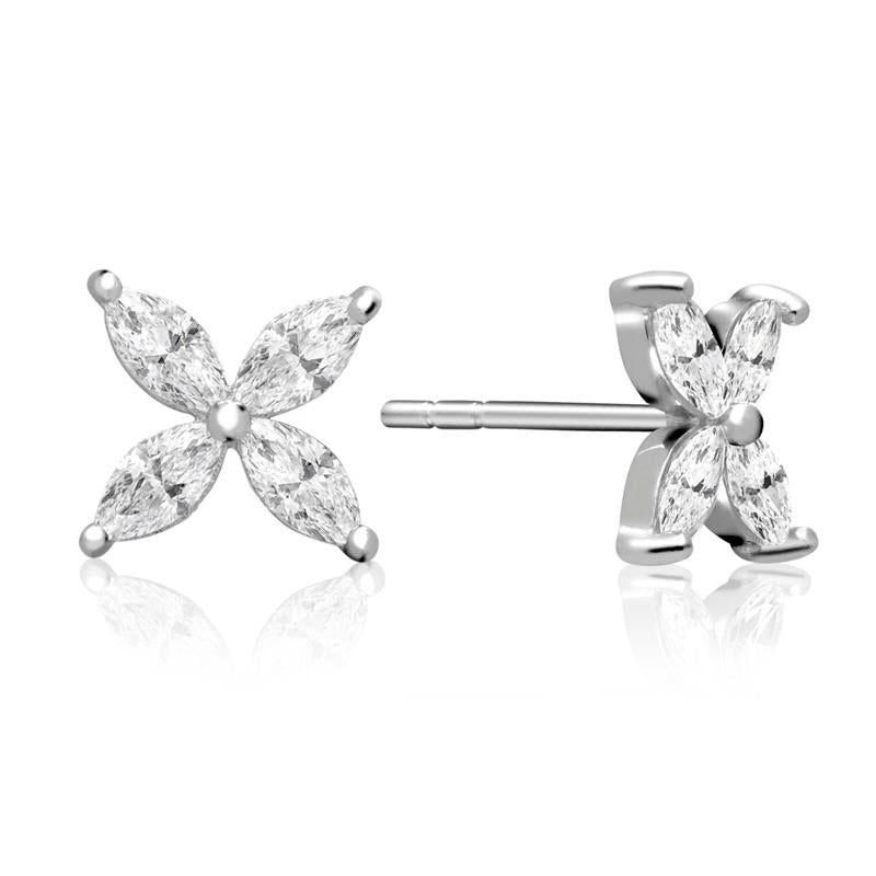 Achara Flower Petal Zirconia Stud Earrings
