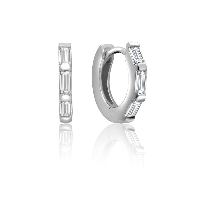 Achara CZ Baguette Huggie Hoop Earrings