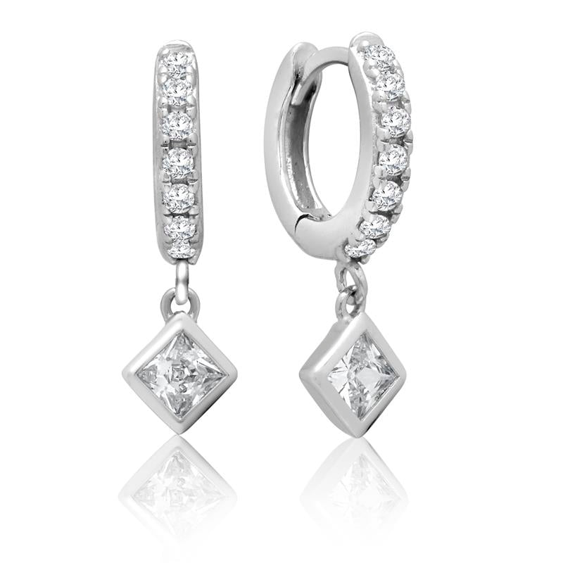Achara Square Drop Zirconia Huggie Earrings