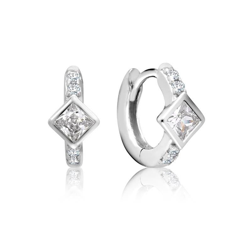 Achara Square Zirconia Small Huggie Earrings