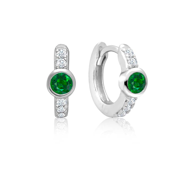 Achara Green Zirconia Small Huggie Earrings