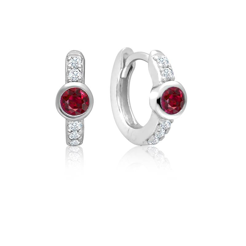 Achara Red Zirconia Small Huggie Earrings