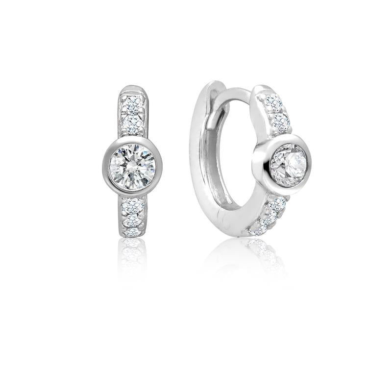 Achara Round Zirconia Small Huggie Earrings