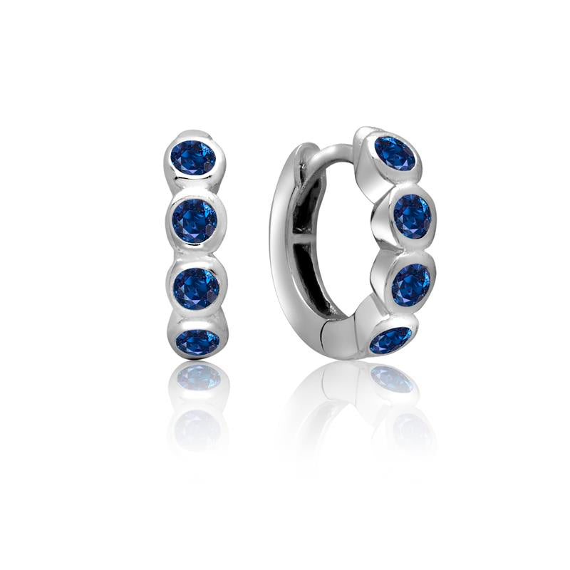Achara 4 Front Blue Cubic Zirconia Huggie Earrings
