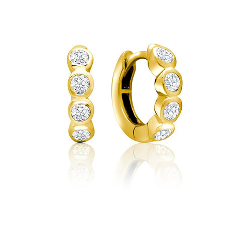 Achara 4 Front Cubic Zirconia Huggie Earrings