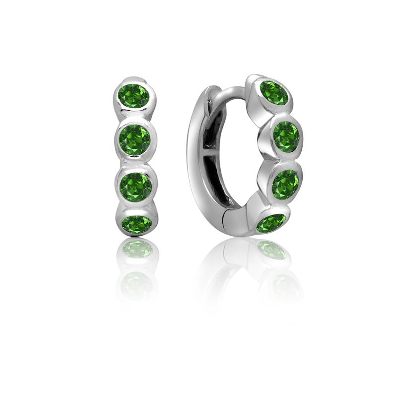 Achara 4 Front Green Cubic Zirconia Huggie Earrings