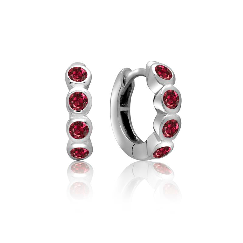 Achara 4 Front Red Cubic Zirconia Huggie Earrings