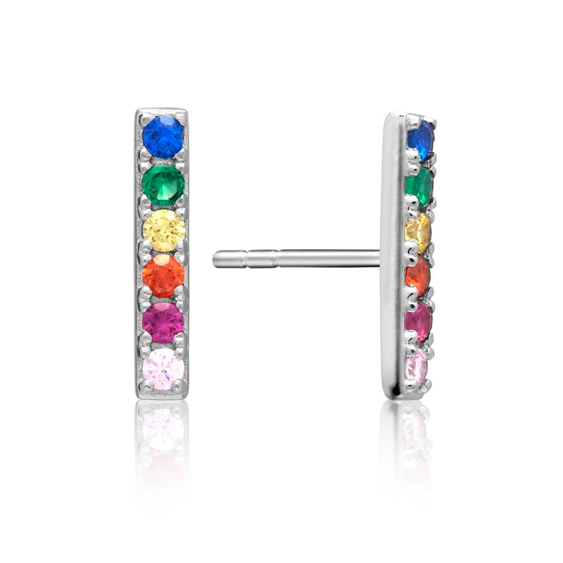Achara Multi Colour Stone Rainbow Bar Earrings