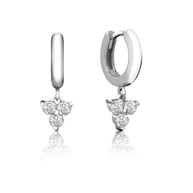 Achara Trinity Zirconia Drop Huggie Hoop Earrings