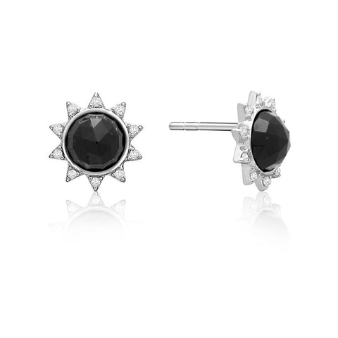 Achara Sunburst Black Onyx Stud Earrings
