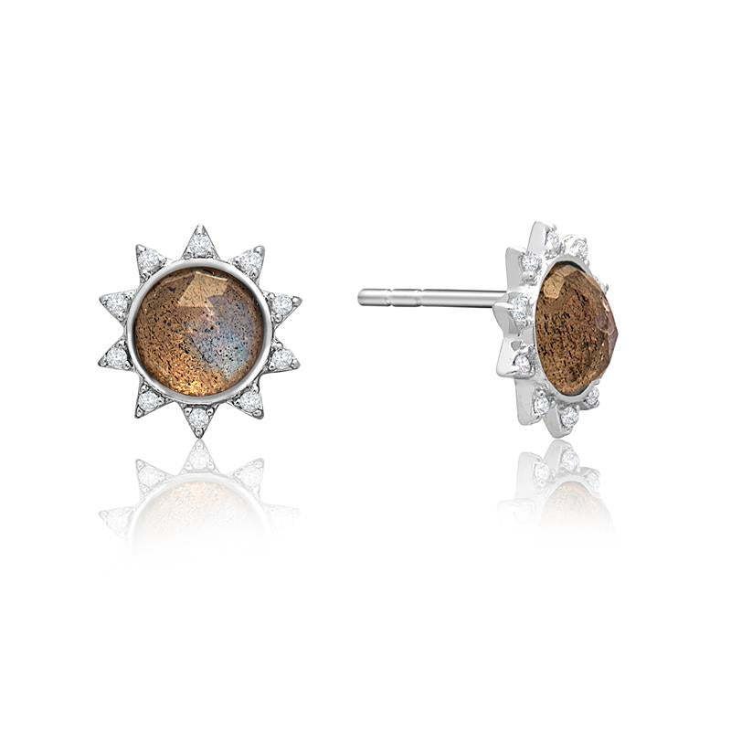 Achara Sunburst Brown Labradorite Stud Earrings