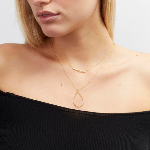 Achara Minimalist Open Pear Necklace
