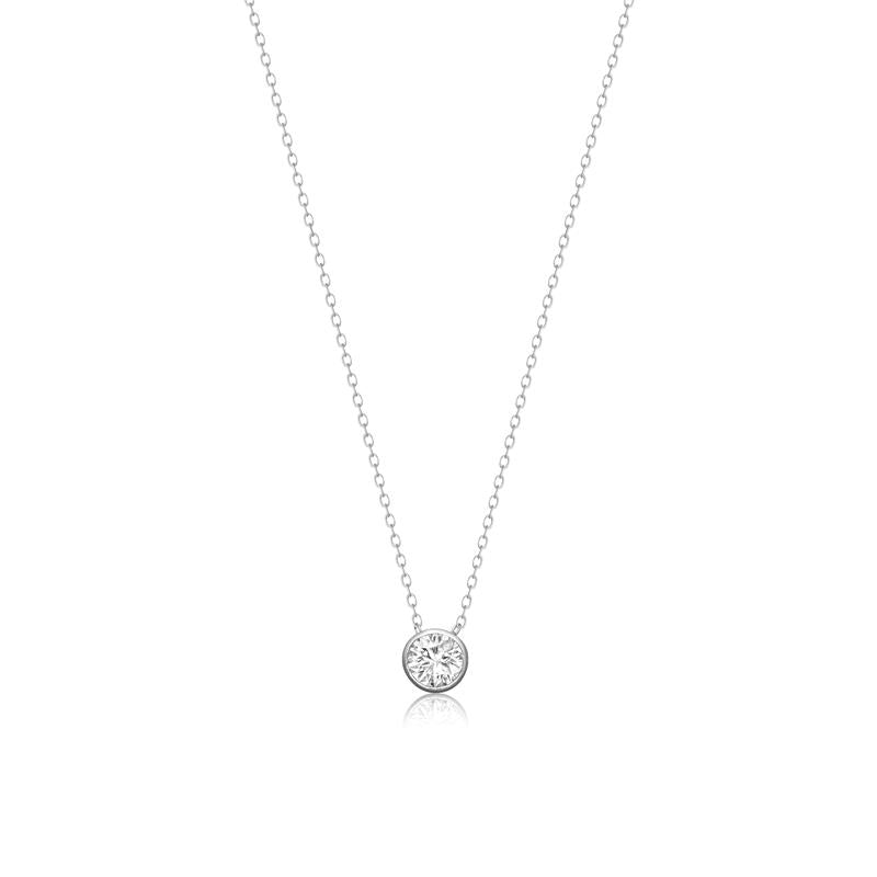 Achara Bezel Set Round Zirconia Necklace