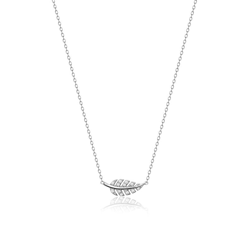 Achara Zirconia Small Sideways Leaf Necklace