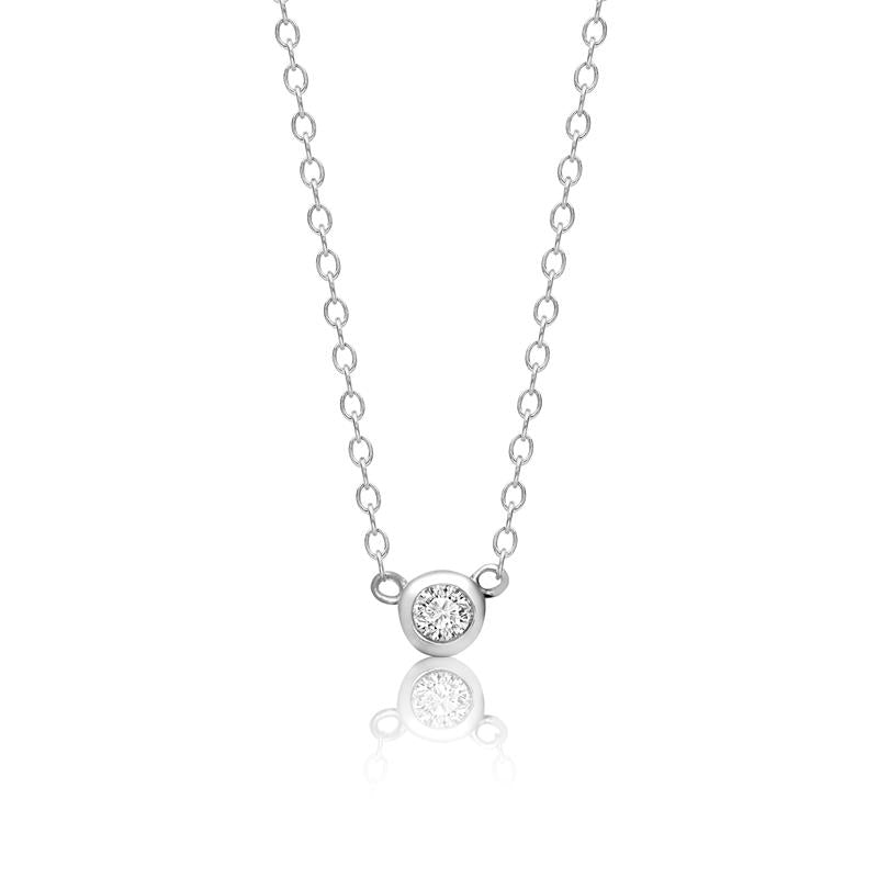 Achara Bezel Zirconia Mini Solitaire Necklace