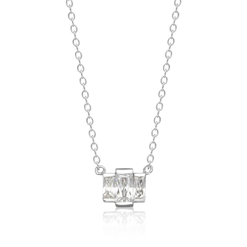 Achara Triple Baguette Zirconia Necklace