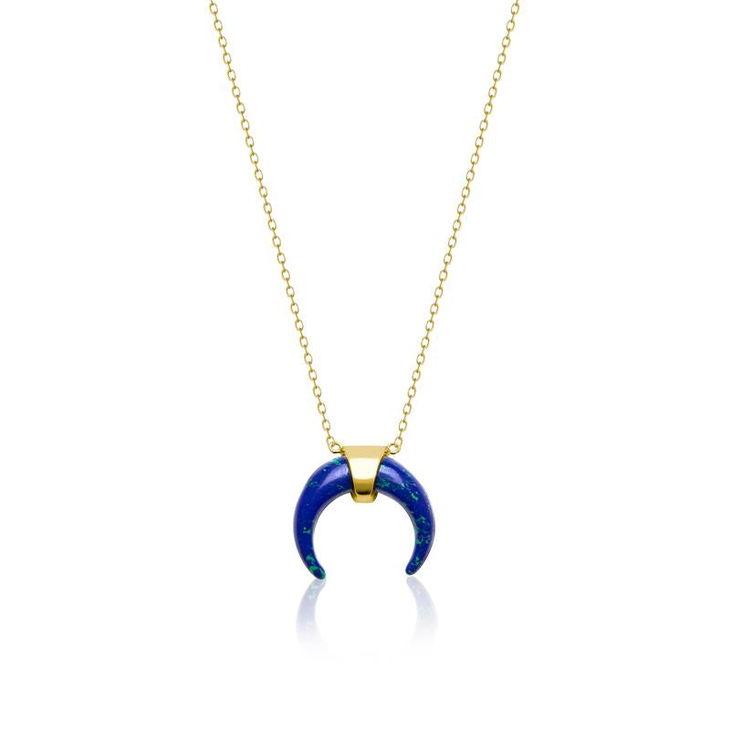 Achara Blue Horn Pendant Necklace