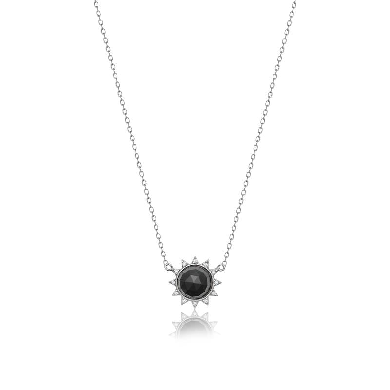 Achara Small Sunburst Black Onyx Pendant Necklace