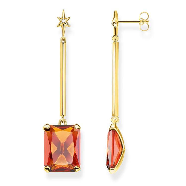Thomas Sabo Gold Earrings Orange Stone H2071-971-8
