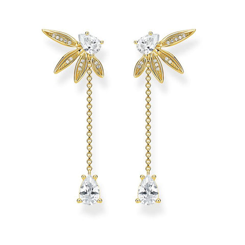 Thomas Sabo Gold Leaves Chain Earrings H2105-414-14