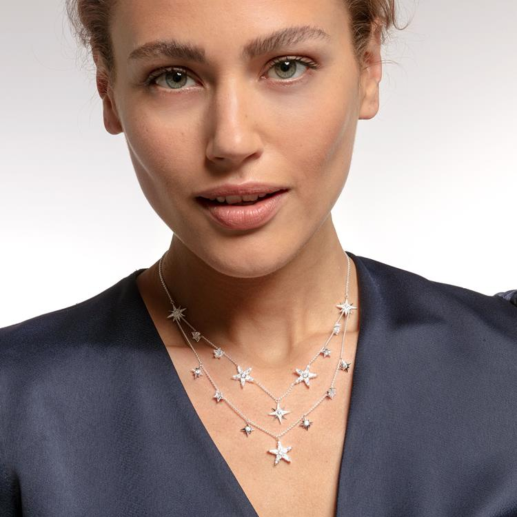 Thomas Sabo Double Row Star Necklace KE1901-051-14