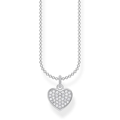 Thomas Sabo Silver Zirconia Pave Heart Necklace