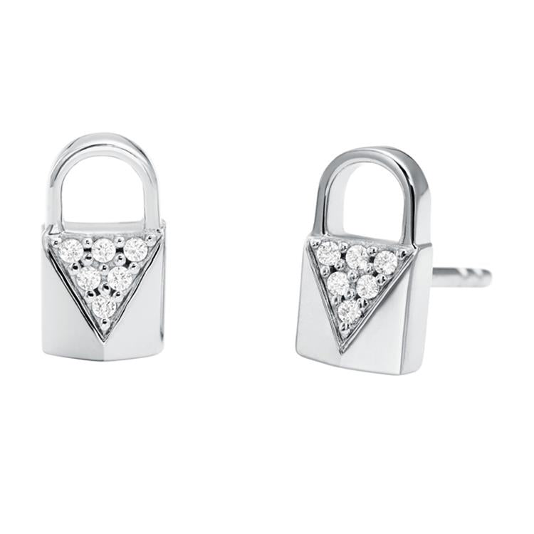 Michael Kors Silver Padlock Stud Earrings MKC1010AN040