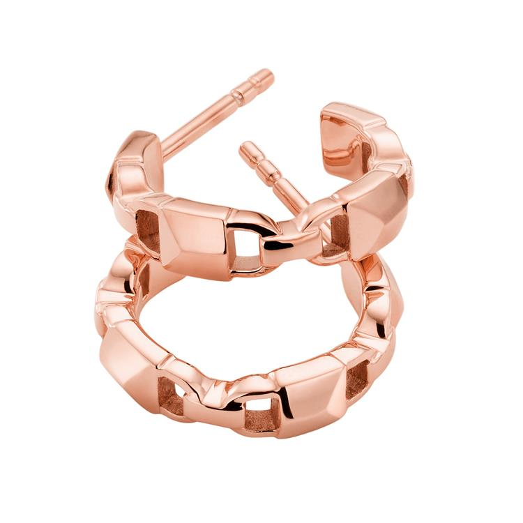 Michael Kors Rose Gold Padlock Hoop Earrings MKC1013AA791