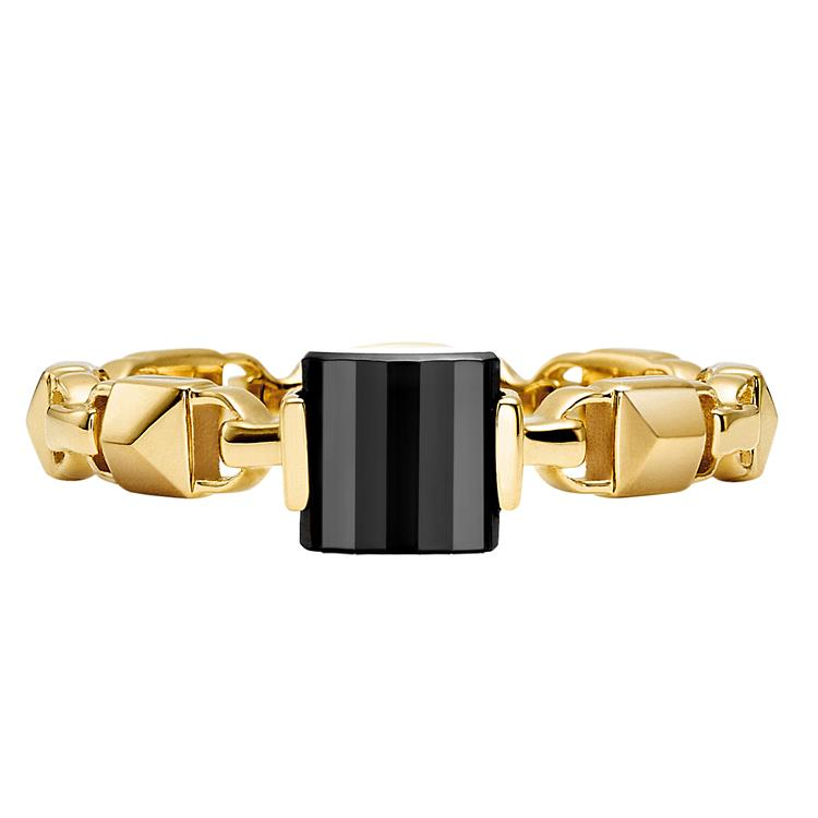 Michael Kors Mercer Link Black Stone Gold Plated Ring