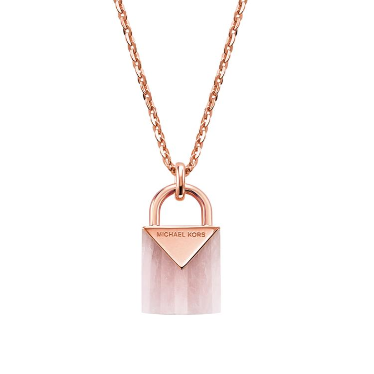 Michael Kors Rose Gold Padlock Necklace MKC1039AB791