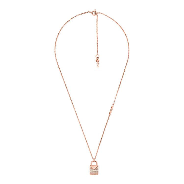 Michael Kors Rose Gold Padlock Necklace MKC1040AN791