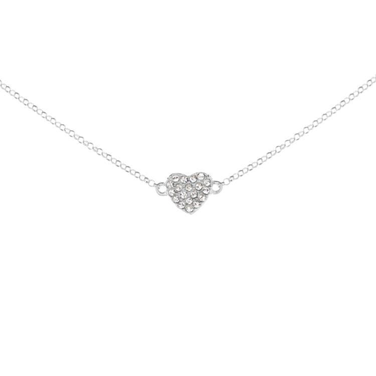 Annie Haak Teeny Crystal Heart Silver Necklace