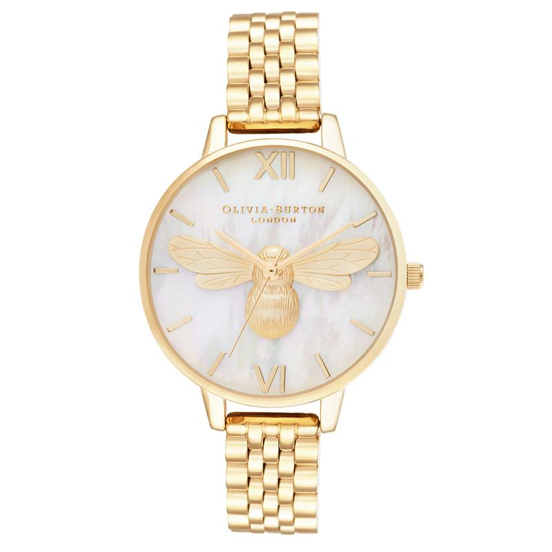 Olivia Burton Mother Of Pearl Gold Bee Watch OB16FB18