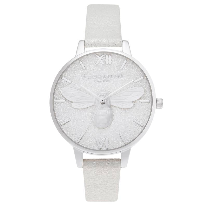 Olivia Burton Glitter Silver Bee Watch OB16FB20