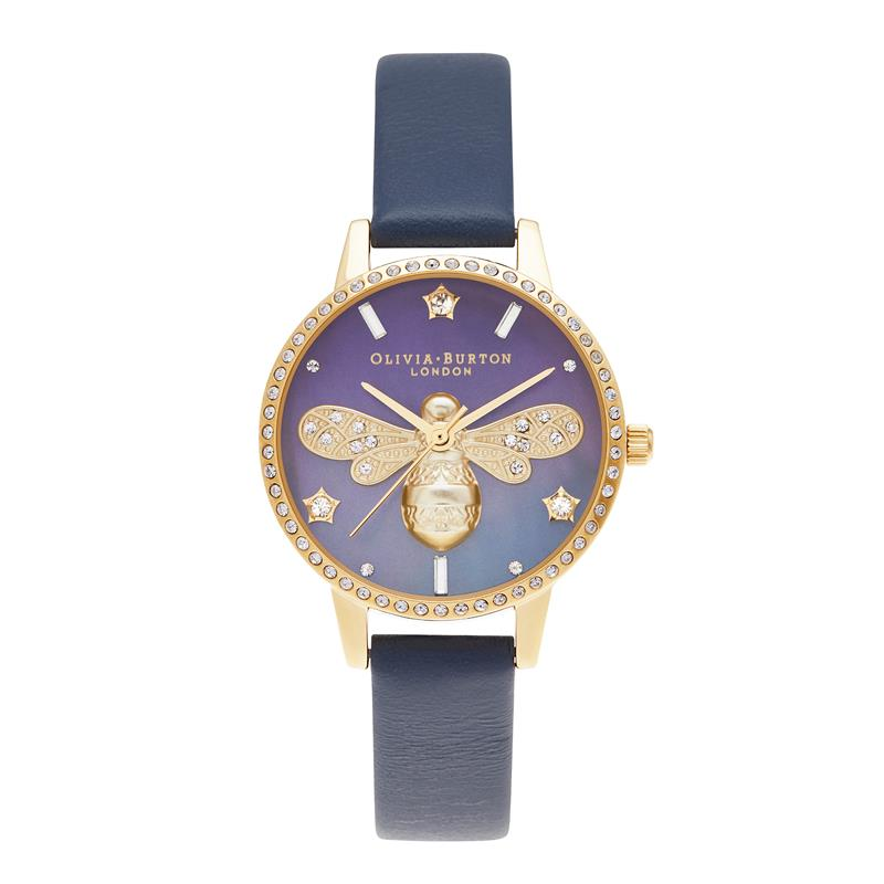 Olivia Burton Midi Navy & Gold Bee Watch OB16GB06