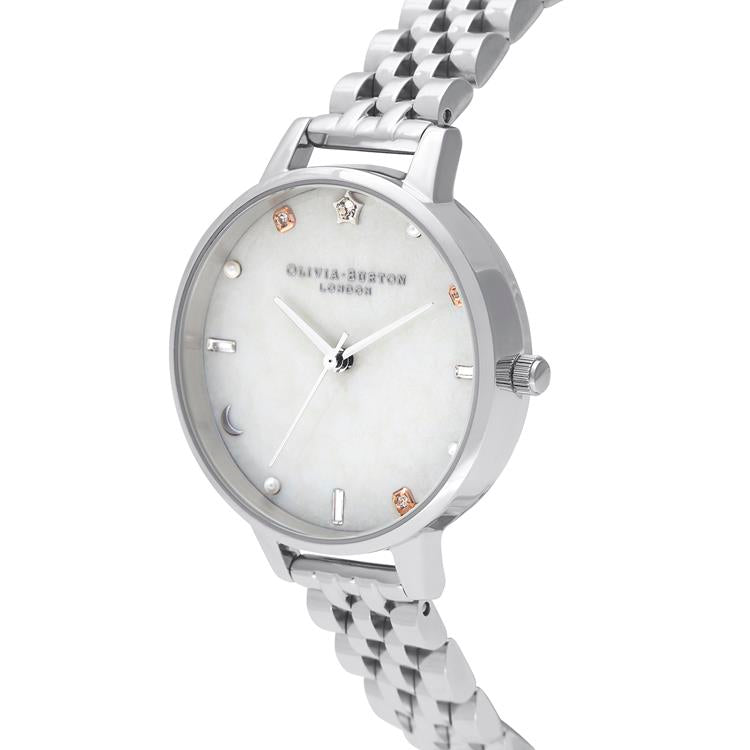 Olivia Burton Celestial White Steel Watch OB16GD30