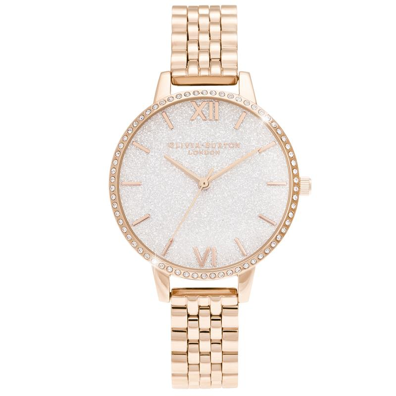 Olivia Burton Sparkle Case Rose Gold Watch OB16GD67