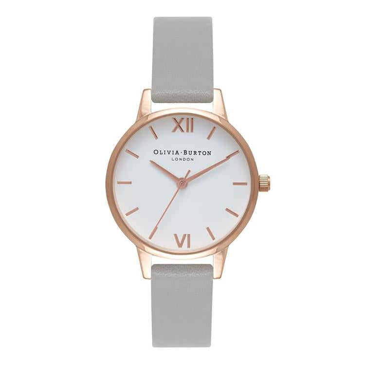 Olivia Burton White Grey Rose Gold Watch OB16MDW05