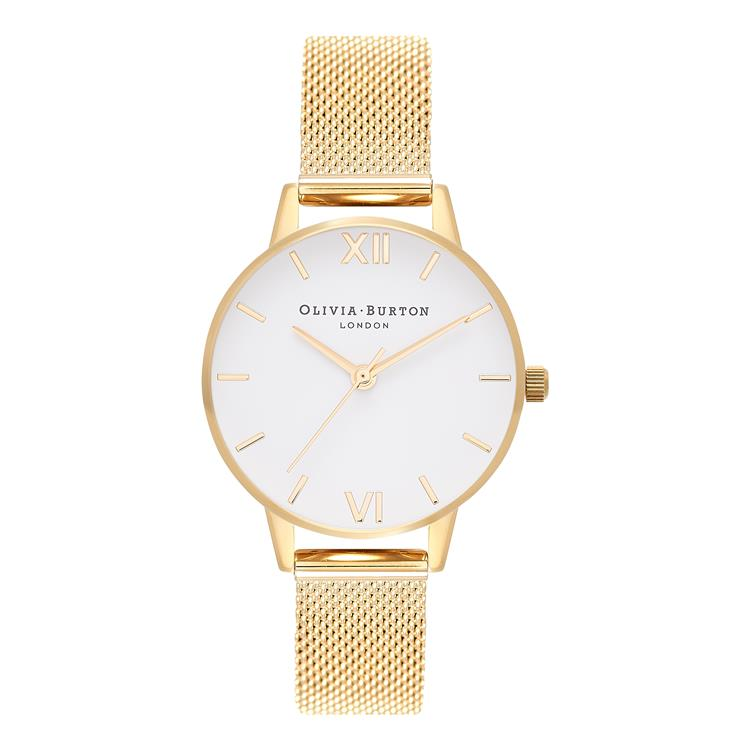 Olivia Burton White Dial Gold Mesh Watch OB16MDW35