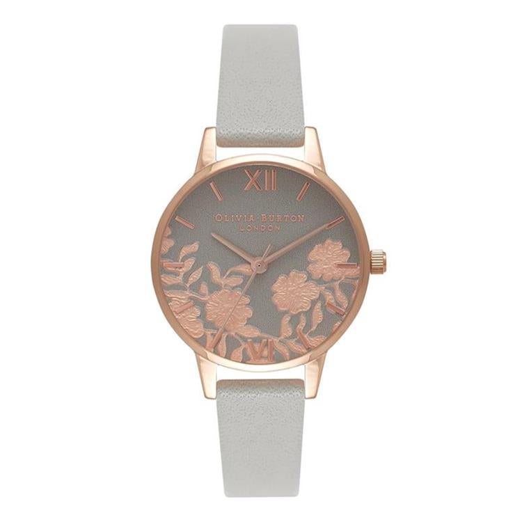 Olivia Burton Lace Detail Grey Rose Watch OB16MV58