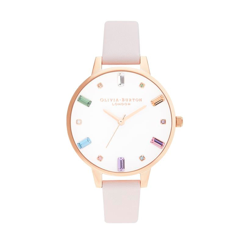 Olivia Burton Rainbow Pale Pink Strap Watch OB16RB22